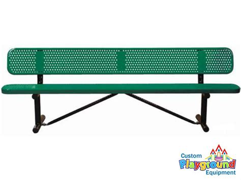 playground benches school or park bench 6ft perforated metal bench with back