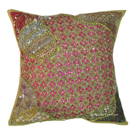 beaded throw pillows green antique beaded patchwork embroidered accent throw