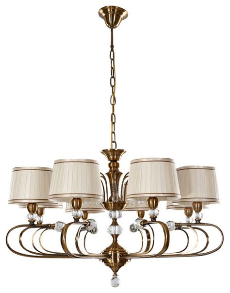 8 Light Fabric Drum Shaped Shade Chandelier With Crystal Cloth Chandelier