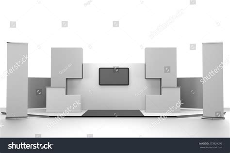 booth layout en francais booth design in exhibition with tv display and rollups