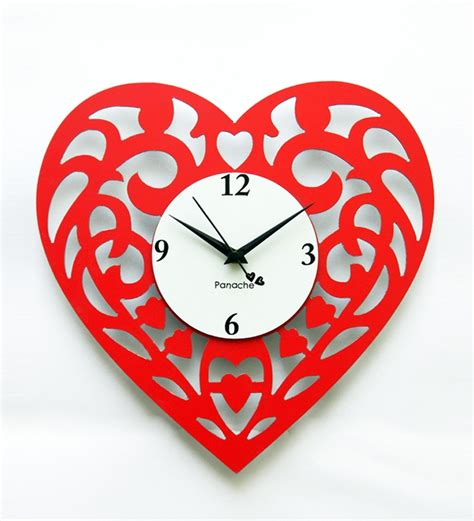 Sell Home Decor Products by Panache Heart Shaped Wall Clock Red By Panache Online