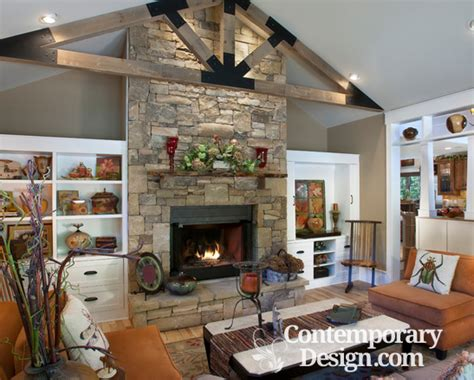 stone fireplace  built ins