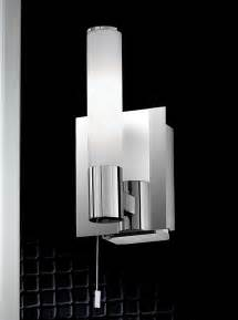 Modern Bathroom Shaver Lights Wb977 Single Bathroom Wall Light Chrome And Satin Opal