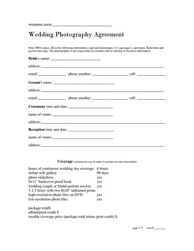 photography contract template free download create edit