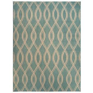 5x7 Teal Blue Ikat Loop Indoor Outdoor Area Rug 5x7 Outdoor Rugs