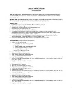 Cna Description Resume by Certified Nurses Aide Description For Resume Bestsellerbookdb