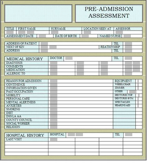 hospital admission form template care check lists for patients in hospitals and nursing