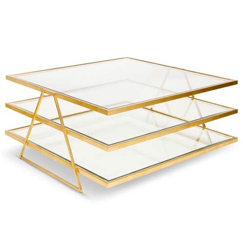 Gold And Glass Coffee Tables Destiny Regency Gold Glass 3 Tier Coffee Table Kathy Kuo Home