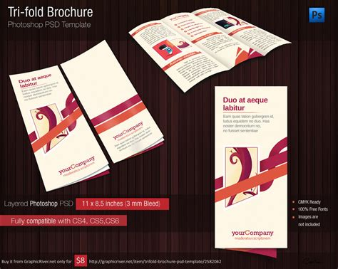 tri fold brochure photoshop template tri fold brochure photshop psd template for 1 usd by