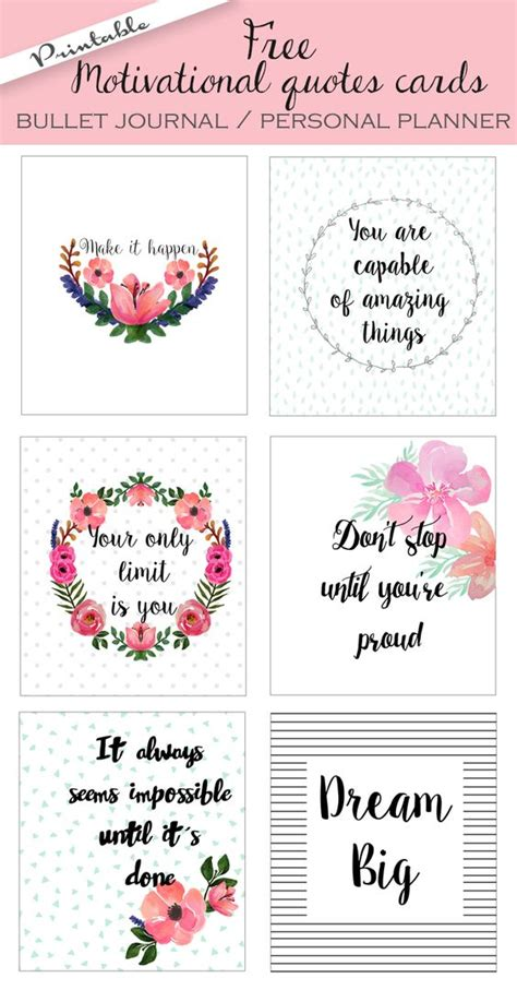 printable wellness quotes free printable motivational quote bullet journal cards at