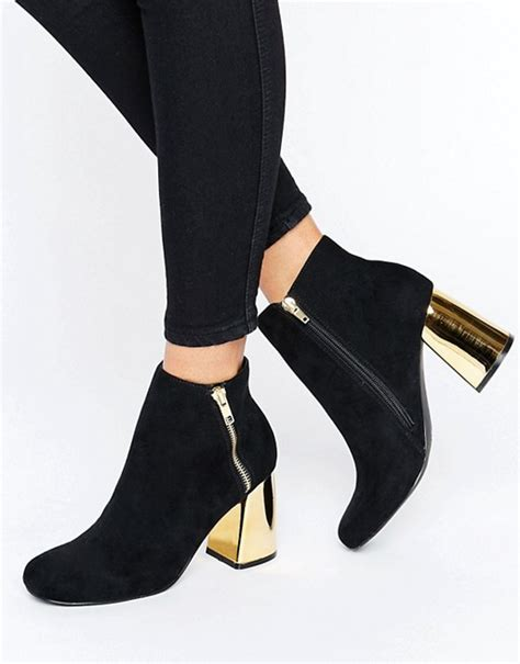 new look new look suedette heeled ankle boot with metal