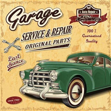 imagenes retro autos retro auto service and repair poster vector 04