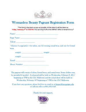 Beauty Pageant Entry Form Template Fill Online Printable Fillable Blank Pdffiller Pageant Registration Form Template