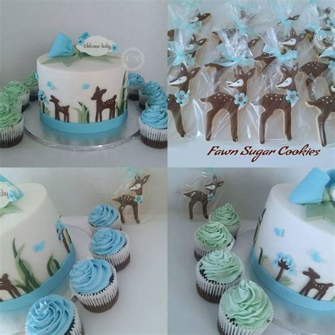 Woodland Deer Baby Shower Cake & Cupcakes   CakeCentral.com