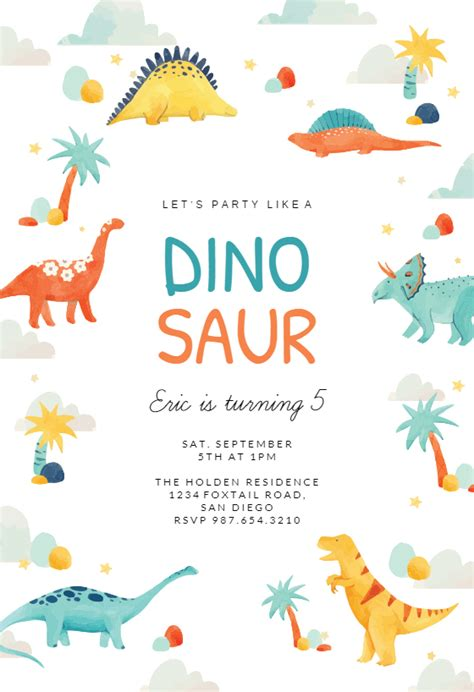 dinosaur adventure birthday invitation template