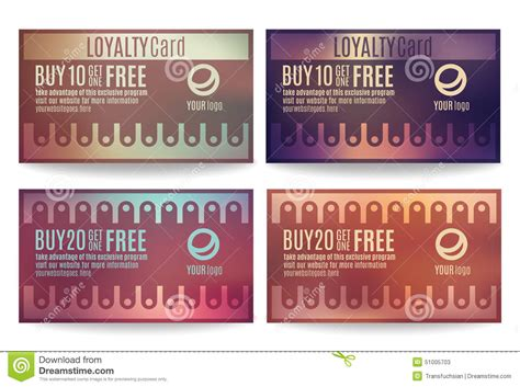 reward card template customer loyalty card templates stock vector