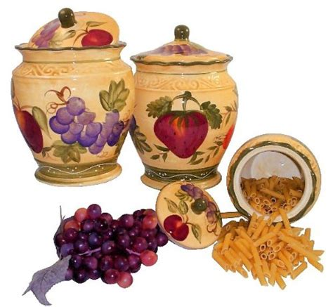 wine kitchen canisters canister set3pc canister tuscany wine grape fruits ebay