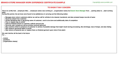Storekeeper Experience Letter Format branch store manager work experience certificate letter