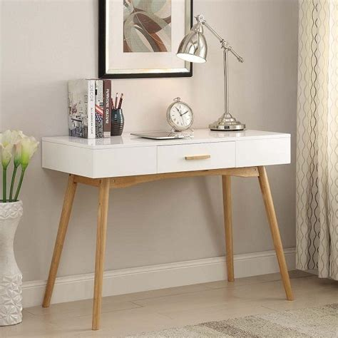 white wood desk with drawers modern mid century style writing desk console