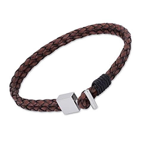 mens leather t bar catch bracelet antique brown bejouled of glasgow jewellery