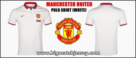 polo shirt manchester united white 2014 2015 big match