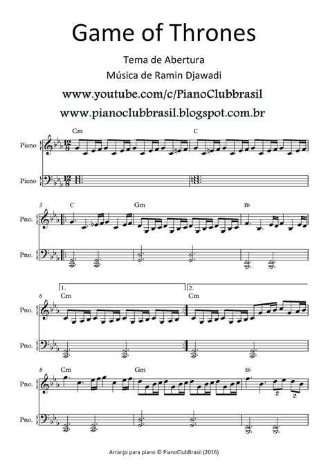 theme music game of thrones download pianoclub game of thrones main theme partitura com
