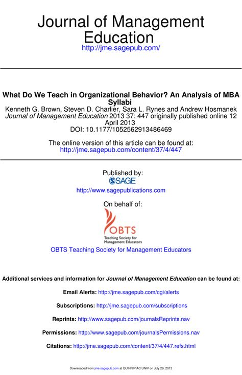 Organizational Behaviour Book For Mba by What Do We Teach In Organizational Pdf Available