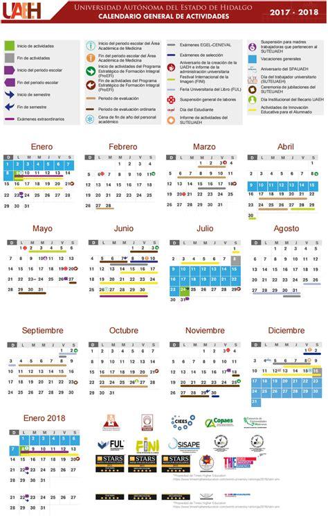 Calendario Escolar Uaeh Calendario Uaeh 2017 2018