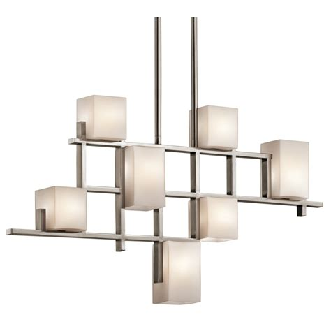 contemporary deco modern deco linear ceiling light pewter grid opal glass shades