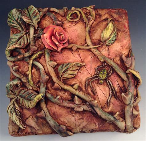 painting on ceramic tile craft rose and spider relief sculpture on ceramic tile painted
