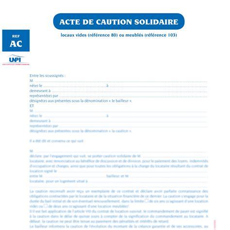 Caution Solidaire Modèle