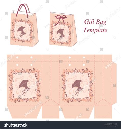 templates for gift bags and boxes pink gift bag template with decorative frame and a bouquet