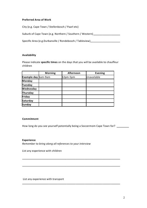 availability sheet for work template driver application form 2010