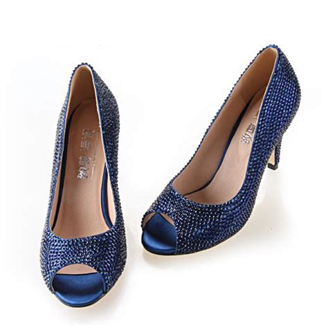 Navy Blue Bridal Heels by Handmade Rhinestone Navy Blue Heels