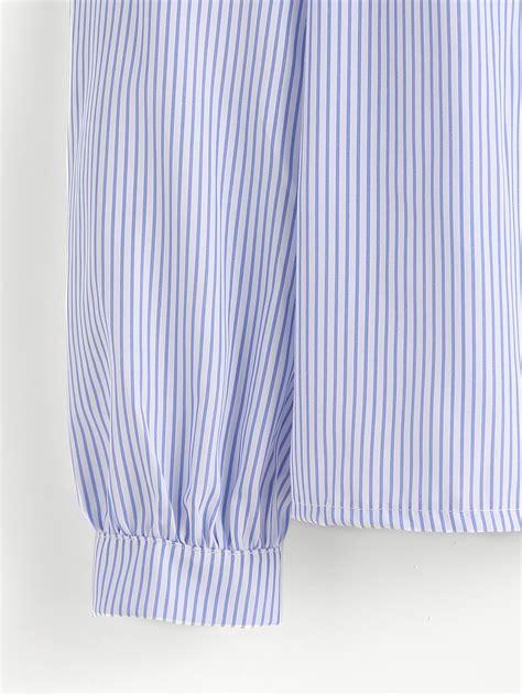 tie neck pinstriped top vertical pinstripe cold shoulder tie neck top shein