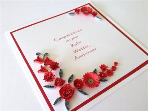 Items similar to Paper quilled 40th Ruby Wedding