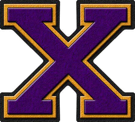 Letter X presentation alphabets purple gold varsity letter x