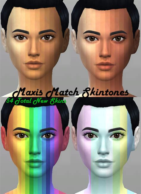 mod the sims sims 4 skins maxis match 54 skintones by kitty25939 at mod the sims
