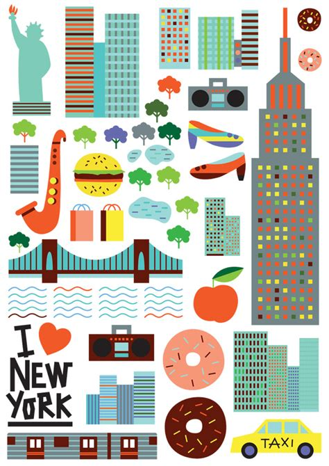 icon design nyc vibrant and colorful illustrations of famous city icons