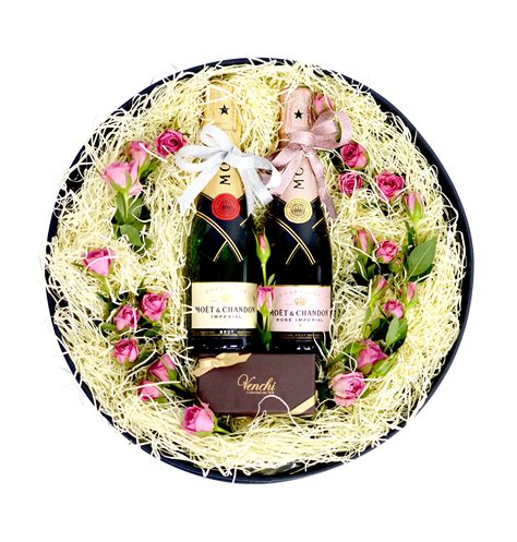 chagne emoji moet chandon rose gift box gift ftempo