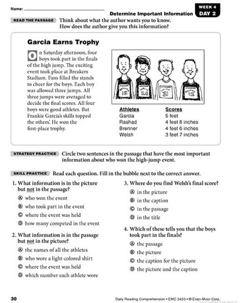 Reading Worksheets Grade 3 by Daily Reading Comprehension Grade 3