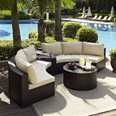 2015 Patio Furniture 2015 Sector Shape Wicker Patio Set With Sectional Arm Table Furniture Outdoor Buy Furniture