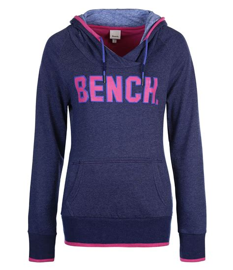 womens bench hoodie bench womens kirkton heavy hoodie sweat in blue dark blue