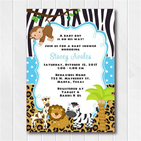 jungle invitation template jungle safari invitations for boys safari baby shower