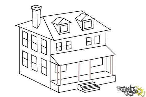 how to draw a house for kids step by step drawing how to draw a house two story house drawingnow