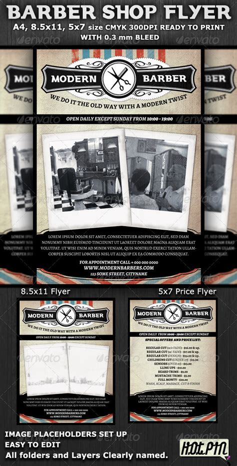 barber shop template barber shop flyer template by hotpin graphicriver