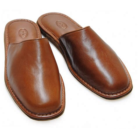 comfortable house shoes men s leather slippers high comfort brown made in italy adpel