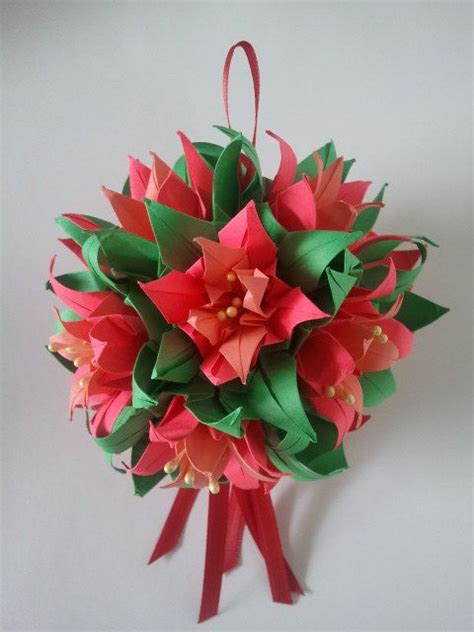 Origami Flower Ornament - 3d origami ornament kusudama