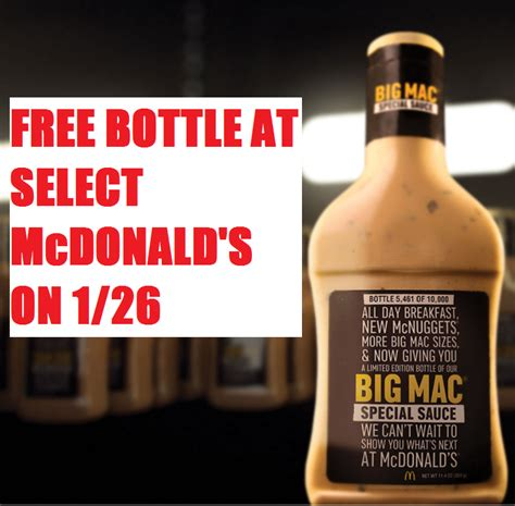 Mcdonalds Big Mac Sauce Giveaway Locations - free bottle of big mac special sauce at select mcdonald s restaurants on thursday 1 26
