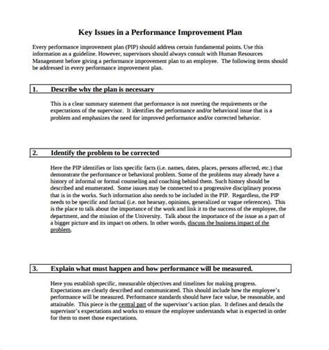 template for plan for performance improvement performance improvement plan template tryprodermagenix org
